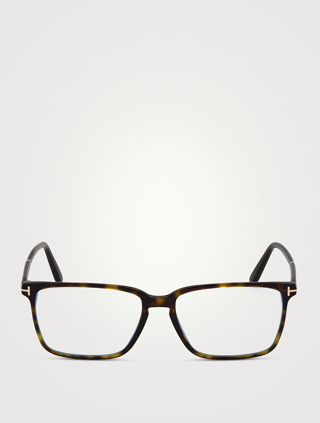 TOM FORD Rectangular Optical Glasses With Blue Block Lenses Men's Brown