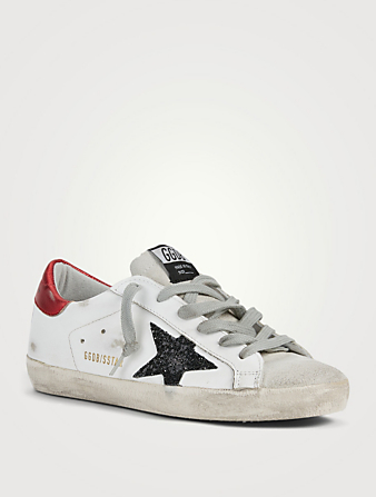 GOLDEN GOOSE Super-Star Leather And Suede Sneakers With Glitter Star Women's Black