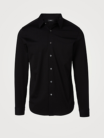 THEORY Sylvain Structure Knit Shirt Men's Black