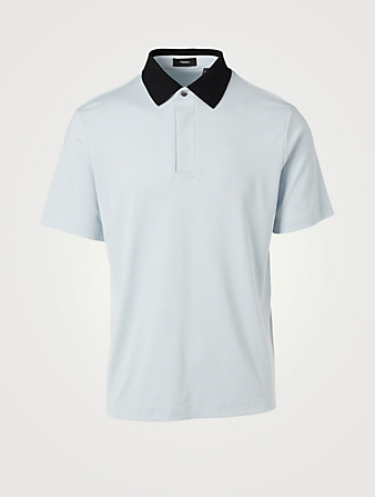 THEORY Modal Jersey Contrast Collar Polo Shirt Men's Blue