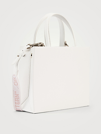 OFF-WHITE Mini Flowers Arrow Leather Box Tote Bag Women's White