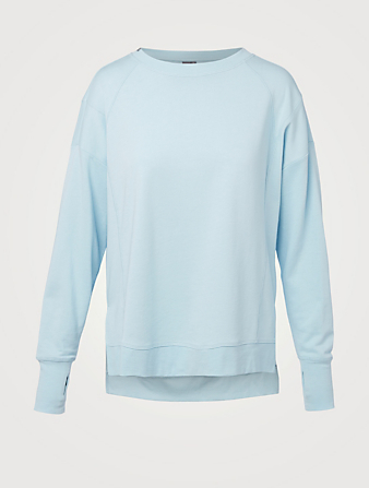 SWEATY BETTY Ras du cou After Class en molleton de coton biologique Femmes Bleu