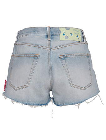 OFF-WHITE Short en denim à bords frangés Femmes Bleu