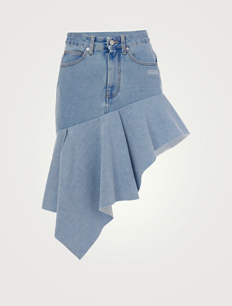 OFF-WHITE Asymmetric Denim Mini Skirt Femmes Bleu