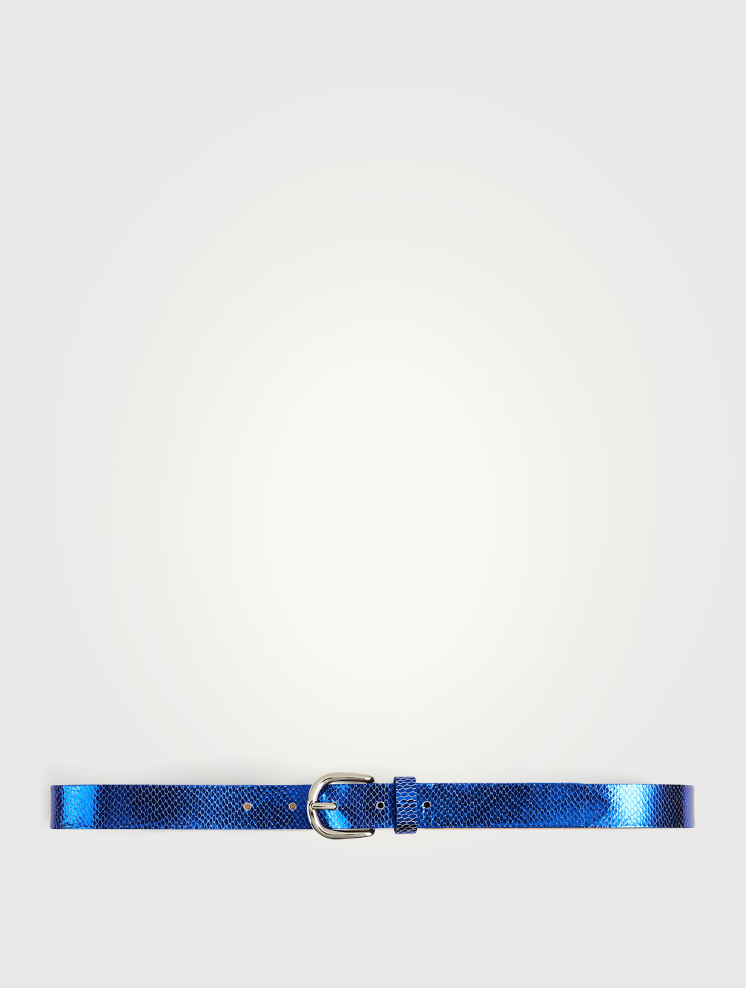 ISABEL MARANT Zap Metallic Lizard-Embossed Leather Belt Women's Blue