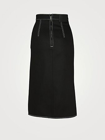 ALEXANDER MCQUEEN Denim Draped Midi Skirt Women's Black
