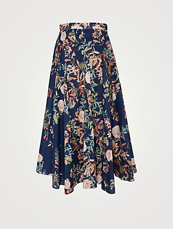 CARA CARA Aquinnah High-Waisted Midi Skirt In Floral Print Women's Blue