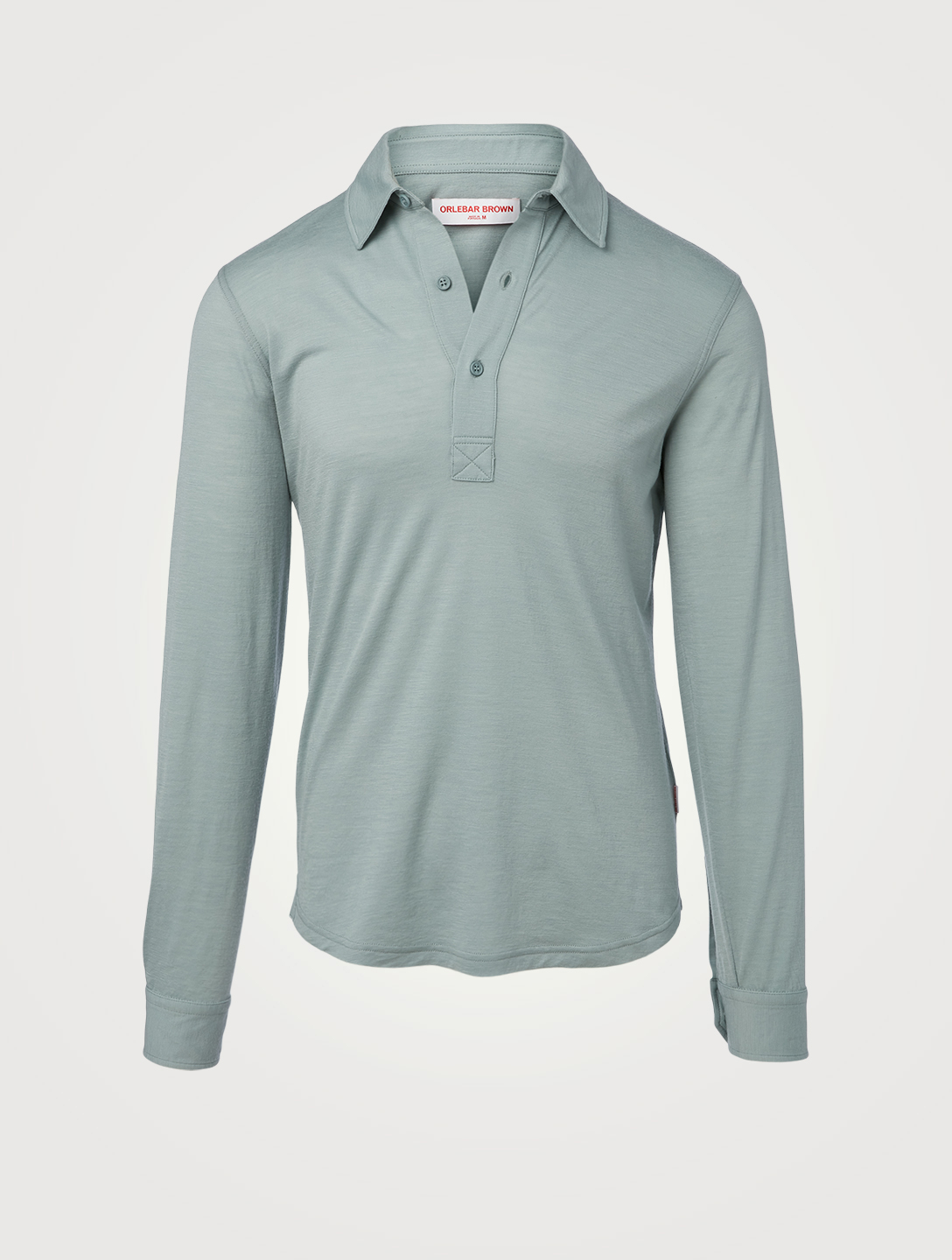 ORLEBAR BROWN Sebastian Wool Long-Sleeve Polo Shirt Men's Grey