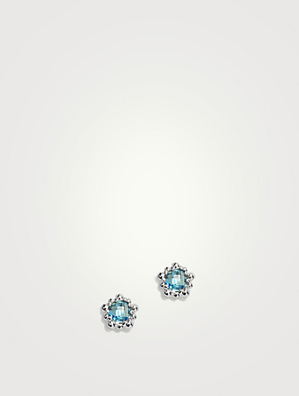 ANZIE Micro Dew Drop Sterling Silver Stud Earrings With Swiss Blue Topaz Women's Metallic