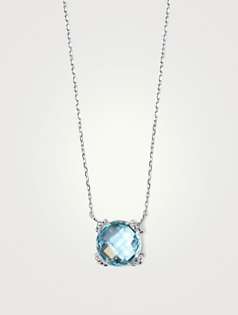 ANZIE Mini Dew Drop Silver Cluster Necklace With Blue Topaz Women's Metallic