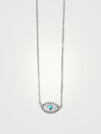 ANZIE Dew Drop Silver Evil Eye Necklace With Turquoise Women's Metallic