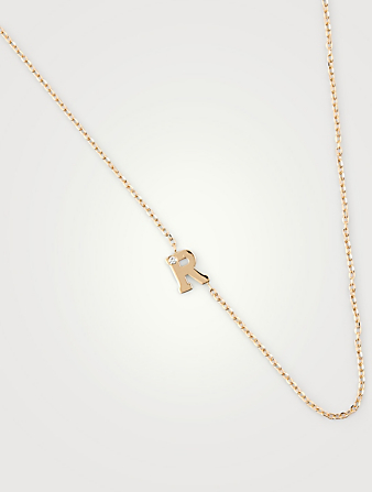 ANZIE Customizable Love Letter 14K Gold R Necklace With Diamond Women's Metallic