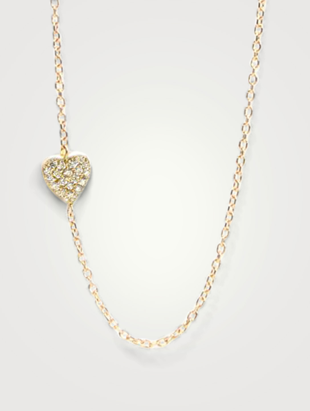 ANZIE Love Letter 14K Gold Heart Necklace With Diamonds Women's Metallic