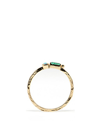 ANZIE Cléo Gold Stackable Ring With Emerald And Turquoise Women's Metallic