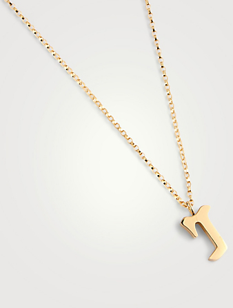 ELECTRIC PICKS Tudor 14K Gold-Filled Pendant Necklace With R Letter Women's Metallic