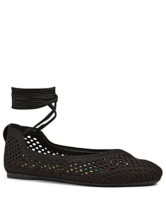 DIOR Poème Mesh Cotton Embroidered Laced Ballet Flats Women's Black