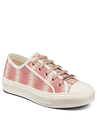 DIOR Walk'N'Dior D-Stripes Cotton Embroidery Sneakers Women's Pink