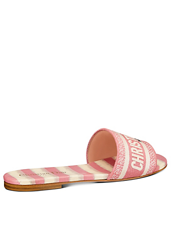DIOR D-Way D-Stripes Cotton Embroidery Slide Sandals Women's Pink