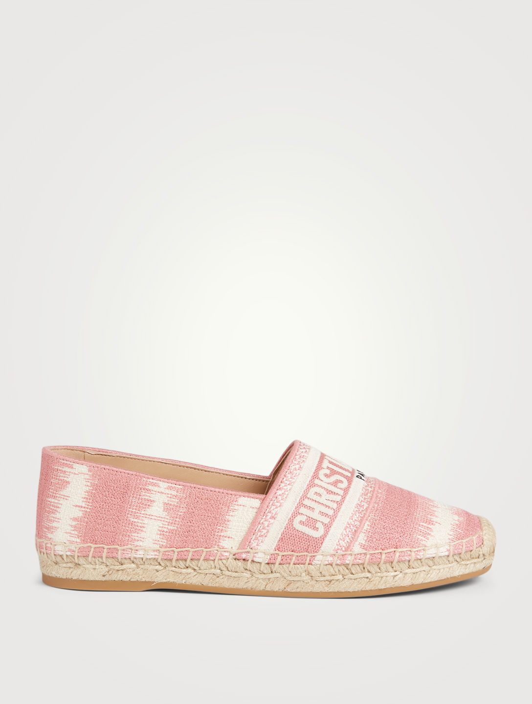 DIOR Granville D-Stripes Cotton Embroidery Espadrilles Women's Pink