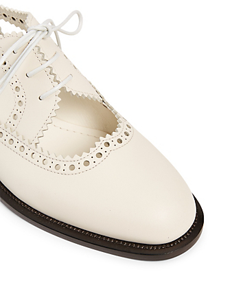 DIOR Teddy-D Perforated Leather Cutout Derby Shoes Women's White
