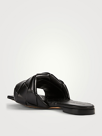 BOTTEGA VENETA Lido Intrecciato Leather Slide Sandals Women's Black