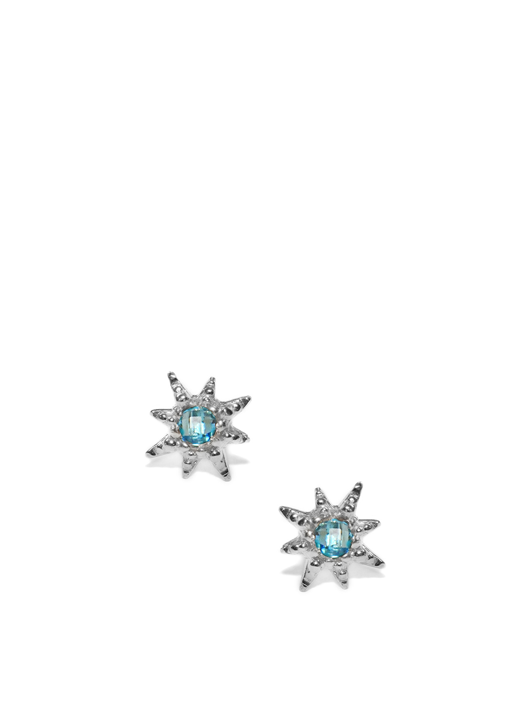 ANZIE Micro Aztec Sterling Silver Starburst Stud Earrings With Swiss Blue Topaz Women's Silver