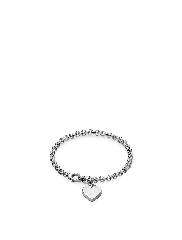 1fe76216e8994c GUCCI Trademark Heart Sterling Silver Bracelet Women's Silver