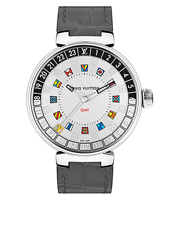 LOUIS VUITTON Tambour Moon Dual Time Watch Silver 44 Créateurs