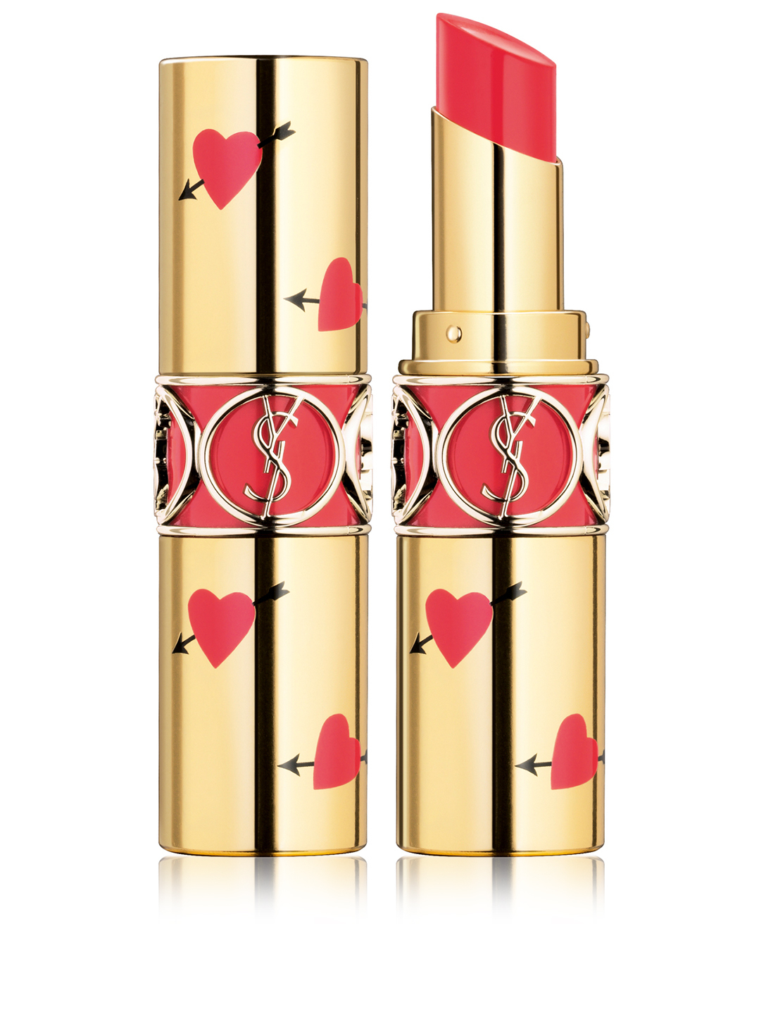 YVES SAINT LAURENT Rouge Volupté Shine Lipstick - Heart & Arrow Limited Edition Beauty Orange