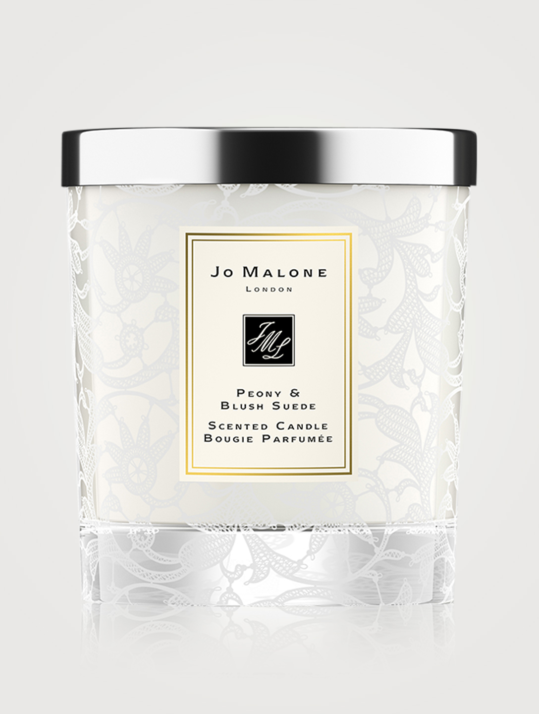 JO MALONE LONDON Peony & Blush Suede Home Candle with Lace Design Beauty
