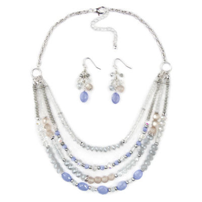 Mixit Womens Clear Silver Tone 3-pc. Jewelry Set