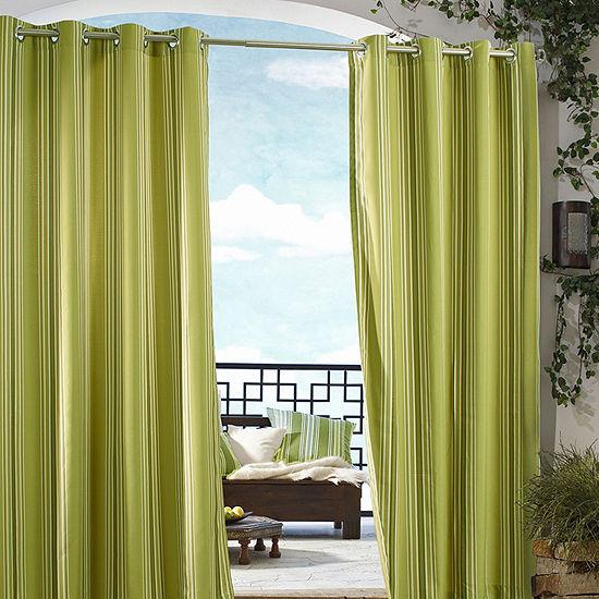 Gazebo Stripe Indoor/Outdoor Grommet-Top Single Outdoor Curtain Panel