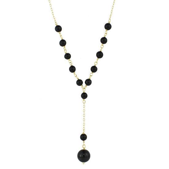 Womens Genuine Black Onyx 14K Gold Beaded Necklace