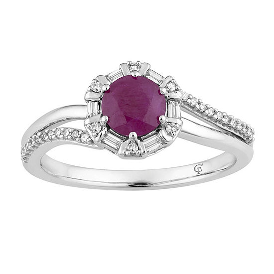 Womens 1/4 CT. T.W. Lead Glass-Filled Red Ruby 10K White Gold Cocktail Ring