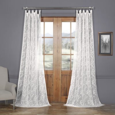 Exclusive Fabrics & Furnishing Paris Scroll Faux Linen Sheer Rod-Pocket Curtain Panel