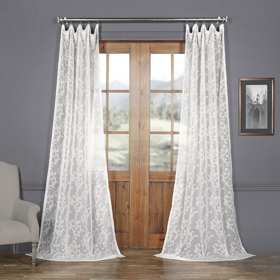 Exclusive Fabrics & Furnishing Paris Scroll Faux Linen Sheer Rod-Pocket Curtain Panel
