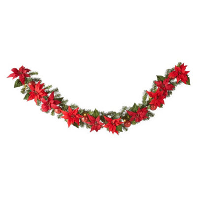 North Pole Trading Co. Poinsettia Pre-Lit Indoor/Outdoor Christmas Garland