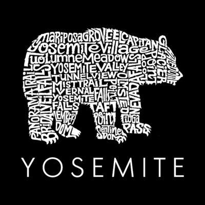 Los Angeles Pop Art Men's Big & Tall Raglan Baseball Word Art T-shirt - Yosemite Bear