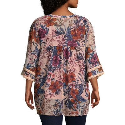 Self Esteem Womens V Neck 3/4 Sleeve Layered Top-Juniors Plus