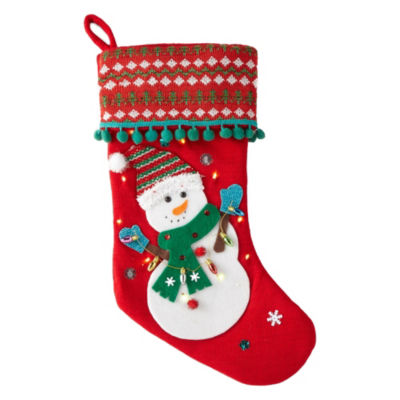 North Pole Trading Co. 20 Inch Led Snowman Felt Christmas Stocking