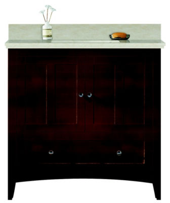 36-in. W Floor Mount Walnut Vanity Set For 3H8-in.Drilling Beige Top White UM Sink