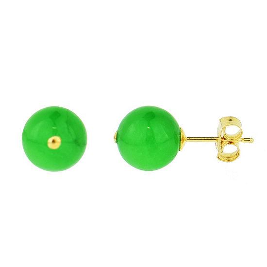 Genuine Green Jade 14K Gold 8mm Stud Earrings