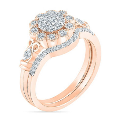 Womens 3/8 CT. T.W. White Diamond 10K Rose Gold Bridal Set