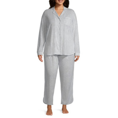 Ambrielle Knit Notch Collar Pajama Set- Plus