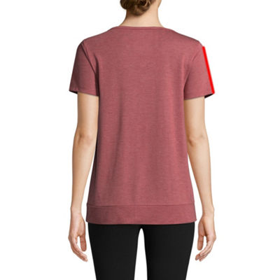 St. John's Bay Active Short Sleeve Split Neck Top