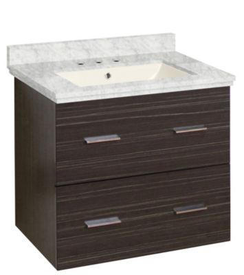 23.75-in. W Wall Mount Dawn Grey Vanity Set For 3H8-in. Drilling Bianca Carara Top Biscuit UM Sink