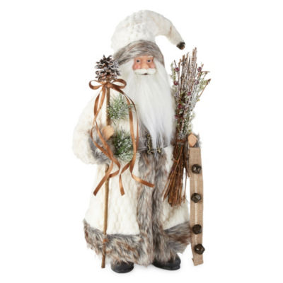 North Pole Trading Co. 18 Inch White Fur Santa Figurine