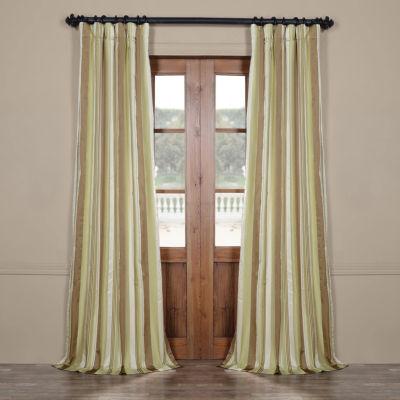 Exclusive Fabrics & Furnishing Cardiff Luxury Faux Silk Stripe Rod-Pocket/Back-Tab Curtain Panel