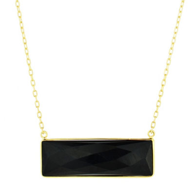 Womens Genuine Black Onyx 14K Gold Pendant Necklace