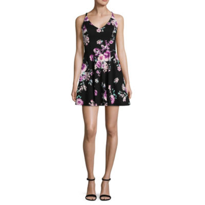 Speechless Sleeveless Floral Fit & Flare Dress-Juniors